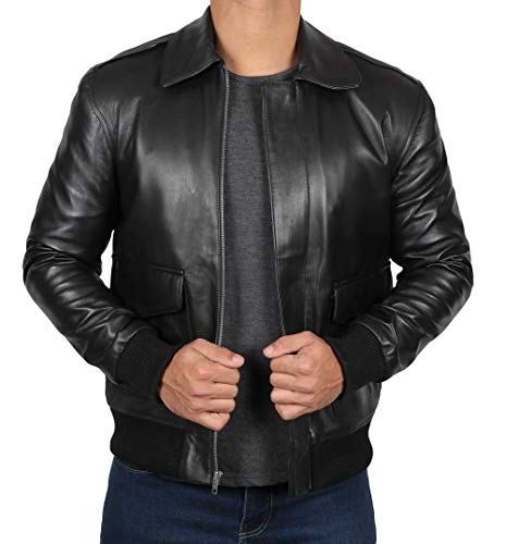 Decrum Black Mens Leather Bomber Jacket - Leather Motorcycle Jacket|Daniel, M