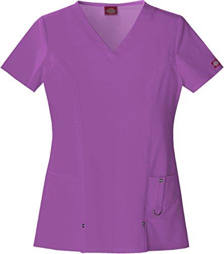 Dickies Women's Xtreme Stretch V-Neck Scrubs Shirt, Purple Bliss, X-Small (Uniforms Dickes Women)