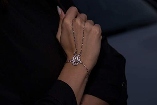 Cubic Chain Slave Bracelet Hand Chain Over 925 Sterling Silver