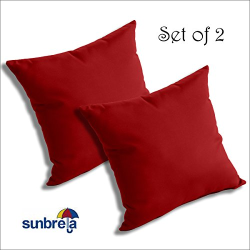 SET OF 2 Sunbrella Outdoor/Indoor THROW PILLOWS by Comfort Classics Inc. (JOCKEY RED) (Sunbrella Red)