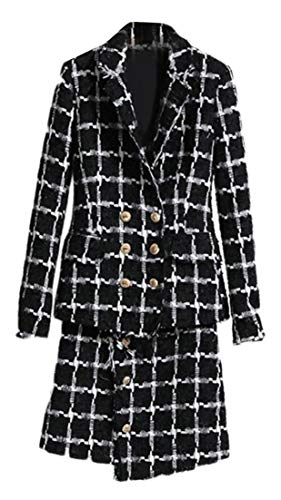 JSY Womens Double Breasted Tailored Collar Coat Tweed Classic Jacket Plaid Skirt Blazer Suit Black S