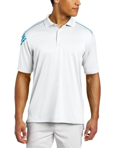 adidas Golf Men's Climacool 3-Stripes Polo Shirt, White/Marine, Medium