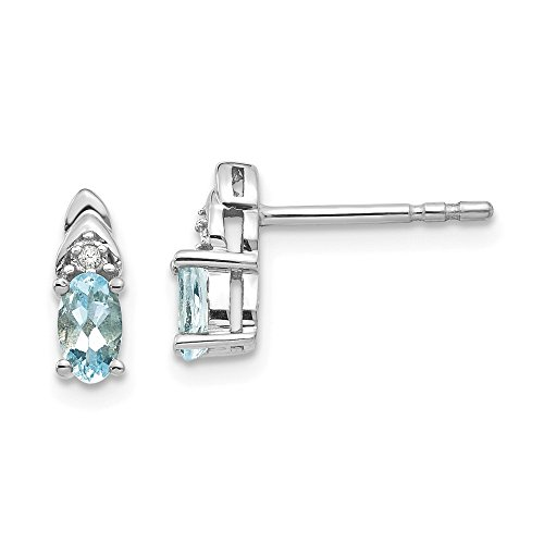 14k White Gold Blue Aquamarine Diamond Post Stud Earrings Set Drop Dangle Birthstone March Fine Jewelry Gifts For Women For Her ()