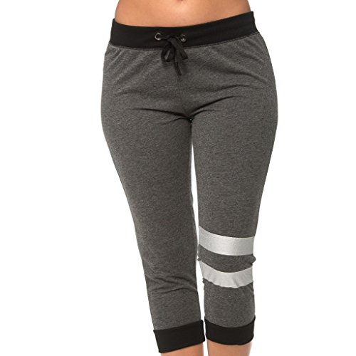 Coco-Limon [E350C-CB-L] Women Capri Joggers - Love Print Cropped (Cropped Womens Sweatpants)