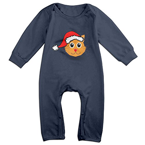 [Haru Chrismas Cat NewBorn Boy's & Girl's Long Sleeve Romper Bodysuit Outfits Navy 18 Months] (Make Lego Costume Legs)
