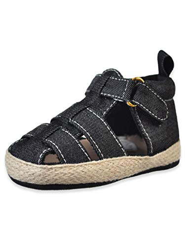 (Stepping Stones First Steps Baby Boys' Espadrille Sandal Booties - Black, 6)