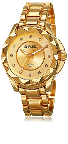 August Steiner Women's 'Diamond Pyramid Pattern Bezel Bracelet' Quartz Alloy Watch, Color:Yellow Gold-Toned (Model: AS8164YG)