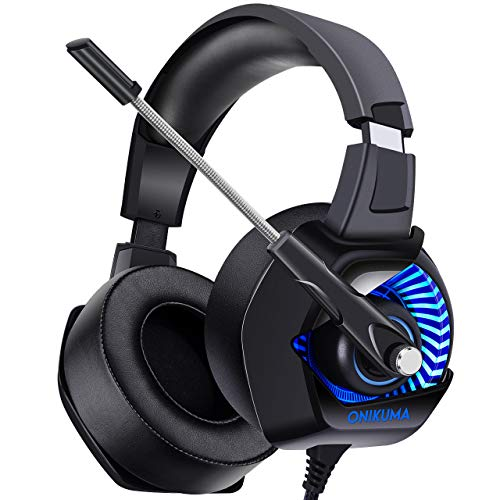 ONIKUMA II Gaming Headset for PS4, Xbox One, PC, Nintendo Switch, Noise Cancelling Over-Ear Halloween Headphones with Soft Memory Earmuffs, 7.1 Surround Sound, Volume Control, LED Light for Laptop Mac -