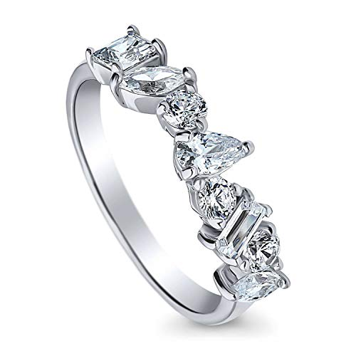 BERRICLE Rhodium Plated Sterling Silver Cubic Zirconia CZ Cluster Anniversary Wedding Band Size 7