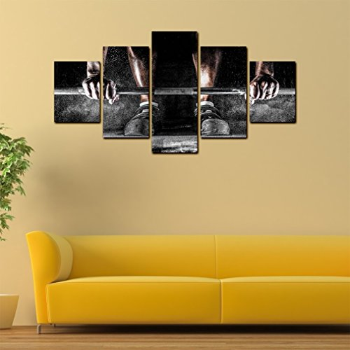 Weight lifting Bar 5 Pieces Canvas Wall Art - Oil Painting Printed ...