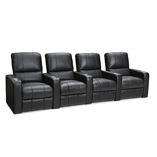 SEATCRAFT Millenia Home Theater Seating Power Recline Leather (Row of 4, Black)