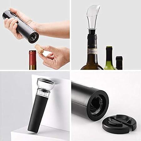 Mfshiye Juego de abridor de botellas de vino eléctrico, abridor de botellas de vino inalámbrico automático a batería con cortador de letras y tapón de vacío adjunto (estilo 1) Negro A