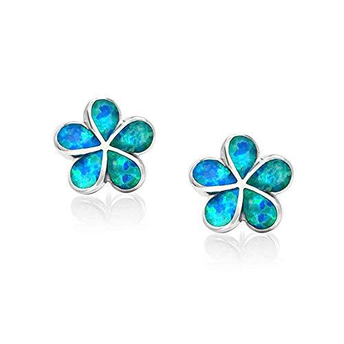 CiNily Flower Stud Earrings,Blue Opal Stud Earrings 14K White Gold Plated Hypoallergenic Flower Earrings Jewelry Gift for mom,Girls,Women ()