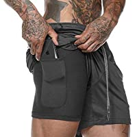 Plus Size Shorts Sport Man Active Wear Sportswear 2 in 1 Exercise Shorts with Zipper Pockets.