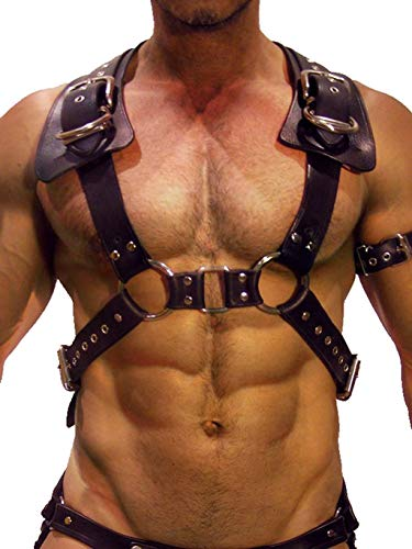 CHICTRY Men's Sexy Leather Body Chest Harness Belt Adjustable Lace Up Waist Caged with Buckles Black ()