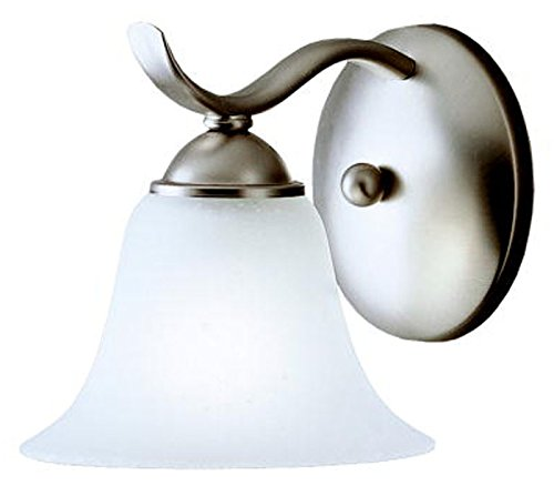 Brass One Light Wall Torch - Kichler 6719NI Dover Wall Sconce 1-Light, Brushed Nickel
