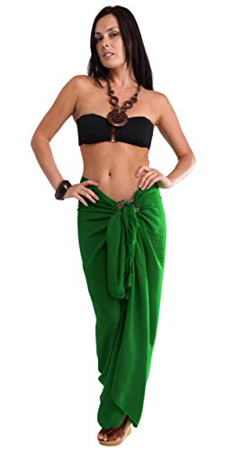 1 World Sarongs Womens Solid Swimsuit Cover-Up Sarong in Green