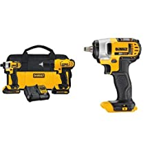 DEWALT DCF883B 20-volt Max Lithium Ion 3/8-Inch Impact Wrench with Hog Ring & DEWALT 20-Volt Max Compact Lithium-Ion Cordless Combo Drill Kit