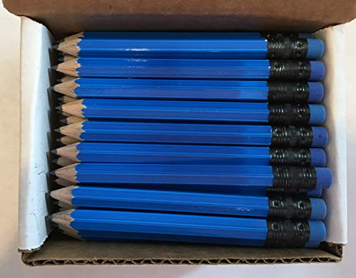 Half Pencils with Eraser - Golf, Classroom, Pew, Short, Mini, Small. Church, Non Toxic - Hexagon, Sharpened, 2 Pencil, Color -(Neon Blue) Colors, Box of 72 Golf Pocket Pencil]()