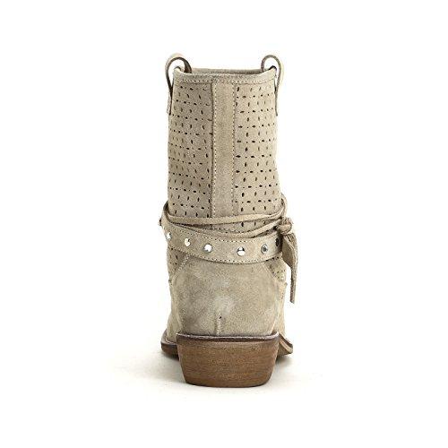 ALESYA by Scarpe&Scarpe - Botines altos con grabado láser y correas Beige
