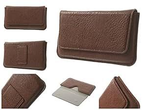 DFV mobile - Funda Estuche Cinturon Horizontal Piel Elefante Sintetica Premium para => BLU Life Play > Marron