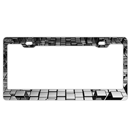 doormatscool 3d Gray Metallic Luster Cube Custom Stainless Steel Express Plate Frame Stainless Steel Express ()