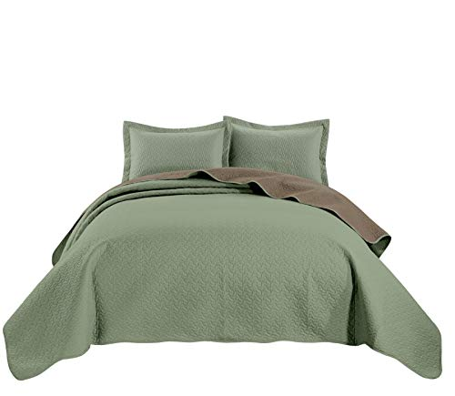 Chezmoi Collection Mesa 3-Piece Oversized Reversible Bedspread Coverlet Set (King, Sage/Taupe)