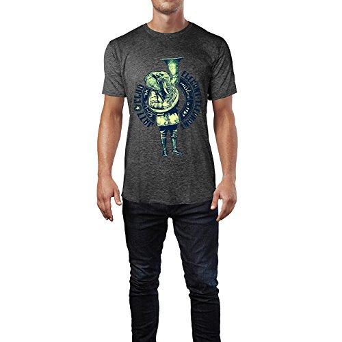 SINUS ART® Jazz Club Eleganter Elephant Herren T-Shirts in dunkelgrau Fun Shirt mit tollen Aufdruck