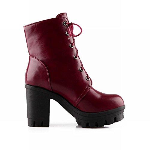 Carol Shoes Women's Modern High Heel High-top Short Martin Boots Burgundy TREq4