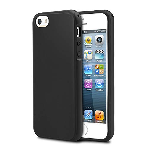 Basse Compatible for case iPhone 5/5s, Simple Style Case Compatible for iPhone SE, Shock-Absorption Bumper, Anti-Scratch, Resist Oil and Easy to Clean, TPU Protection Cover-(Black)