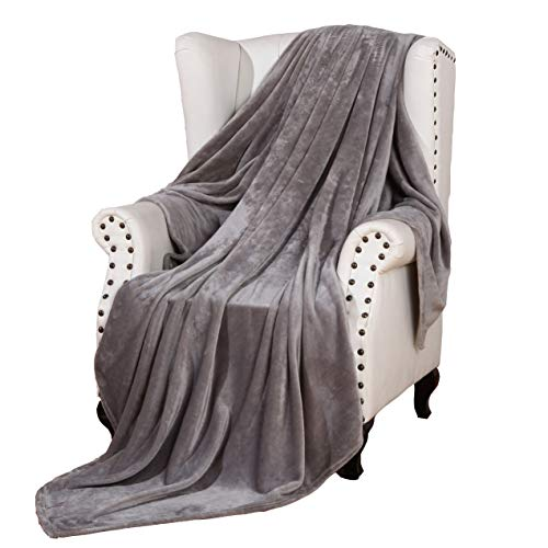 Sherpa Throw Blanket Luxury Grey Size 50x60 Inches Reversible All Season Super Soft Warm Fleece Thick Fuzzy Micro-plush Blanket for Bed Couch and Birthday Gift Blankets ()