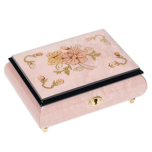 Ornate Floral Design Lilac Italian Hand Crafted Inlaid Wood Jewelry Music Box Plays Mozart's Minuet Serenade