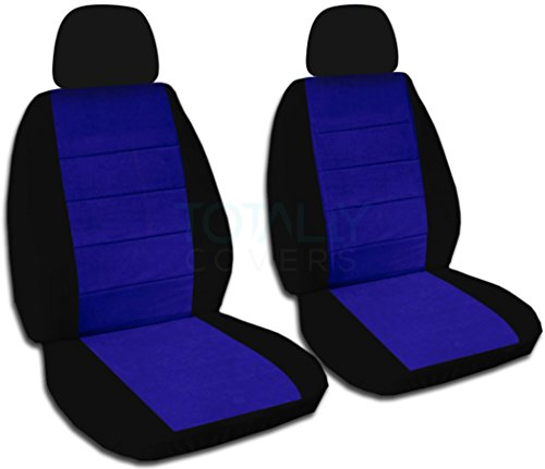 Two-Tone Car Seat Covers w 2 Separate Headrest Covers: Black & Dark Blue - Semi-Custom Fit - Front - Will Make Fit Any Car/Truck/Van/SUV (21 Colors)