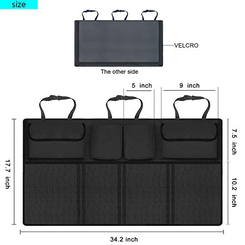 XBRN Car Backseat Trunk Organizer,Car Seat Back Storage,Space Saving with Cargo Net Design 4 Pockets,Bag Back Seat Organizer for Kids, Multipurpose Cargo Accessories SUV & Car Organizer,Black