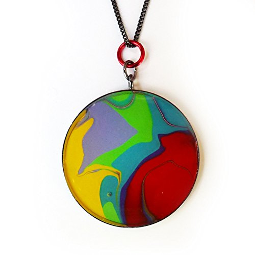 Hand Painted Abstract Artwork & Resin Round Pendant Necklace - Bold Red, Yellow, Green, Purple and Teal - Acrylic Painting in Brass. Women & Men - Unique Wearable Art Gift - Individually Handmade
