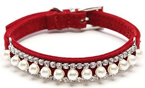 BINGPET BA2014 Adjustable Trendy No Stink Sparkly Dog Collar With Pearl,RED Small
