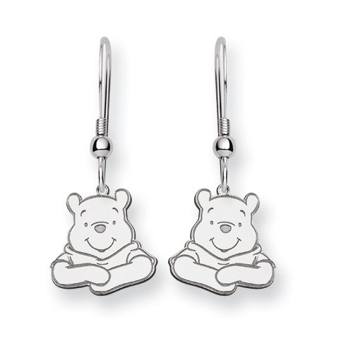 Sterling Silver Disney Winnie the Pooh Dangle Wire Earrings - JewelryWeb