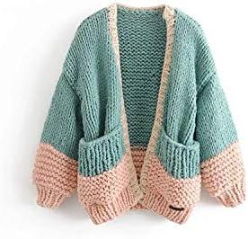 Suéteres de bola tejidos a mano para mujer cárdigan grueso suelto de punto