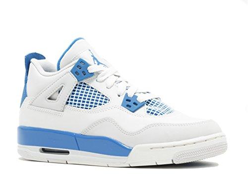 Jordan Nike Air 4 IV Retro Big Kids (GS) Basketball Shoes 408452-105 White Military Blue-Neutral Grey 3.5 M US