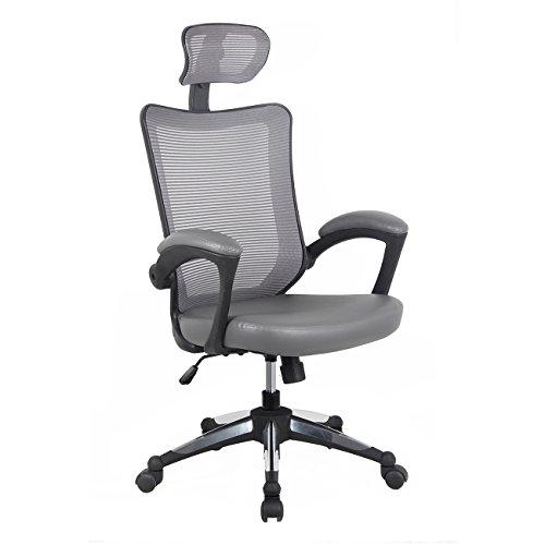 Techni Mobili RTA-80X3-GRY Mesh Headrest High-Back Executive Office Chair, Gray