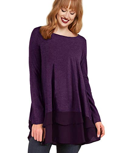 AMZ PLUS Womens Plus Size Flowy Henley Tops Chiffon Splicing Loose Blouse Tunic Dress Shirt Eggplant 2XL