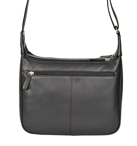 Black Ladies Satchel A03 Casual Genuine Cross Shoulder Leather Large Body Bag qRwInrZCR