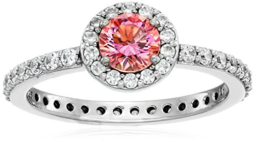 Platinum Plated Sterling Silver Made with Swarovski Zirconia Fancy Pink Round cut Halo Ring, Size 7