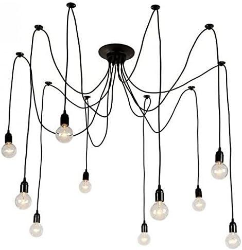 Bella Depot Black Industrial Edison Spider 10 Light Chandelier Pendant Lights, Adjustable