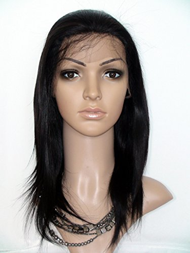 Beautiful Front Lace Wig Real With Stretch Lace Back Peruvian Virgin Remy Human Hair Natural Straight Color #1b(trademark:DaJun)]()