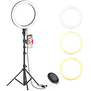 """Best Epic Trends 41XT3yqxTgL._SS300_ 10"""" Selfie Ring Light with Tripod Stand & Cell Phone Holder for Live Stream/Makeup, Dimmable Led Camera Beauty Ringlight for YouTube TikTok/Photography Compatible with Cell Phone(Upgraded)"""