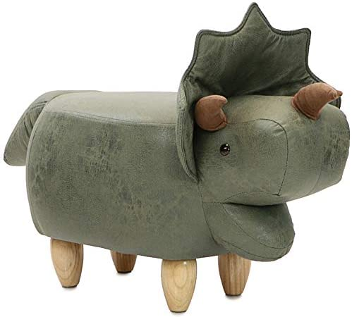 Critter Sitters Green Triceratops 14″ Seat Height Animal Dinosaur-Faux Leather Look-Durable Legs-Furniture