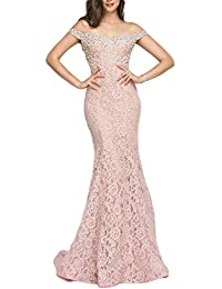 Womens Off Shoulder Long Lace Prom Dress Mermaid Beaded Evening Gown 418