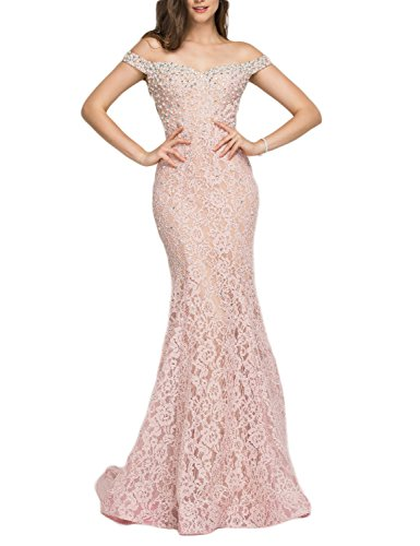 YSMei Women's Long Mermaid Lace Evening Celebrity Dress Off The Shoulder Beading Formal Gown Pink 20W