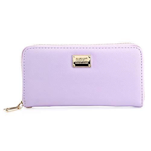 Oct17 Fashion Lady Full Zipper Faux Leather Women Wallet Clutch Long Purse Card Holder Handbag- Purple